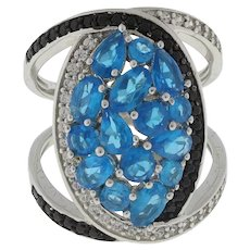Vintage Blue Gemstone CZ Accented Crossover Swirl Ring Sterling Silver 7.25