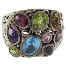 Vintage Sterling Silver Multi-Gemstone Filigree Ring .925 Size 10.25