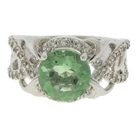 Vintage Green Amethyst & Cubic Zirconia Filigree Ring Sterling Silver Size 6.25