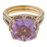 Vintage Amethyst Cubic Zirconia Cocktail Ring Sterling Silver Rose Color 6.25