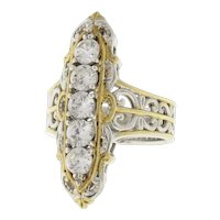 Vintage Cubic Zirconia Filigree Ring Sterling Silver & Yellow Accents Size 6.25