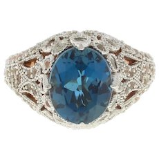 Vintage Blue Quartz CZ Rose Color Filigree Ring Sterling Silver Ladies Size 7.25