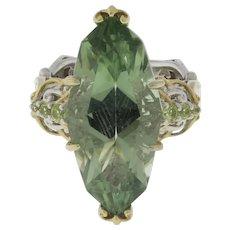 Vintage Green Amethyst Gemstone Statement Ring Sterling Silver Yellow Tones 7.25