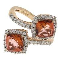Vintage Orange Quartz CZ Bypass Ring Rose Colored Sterling Silver Ladies Size 6