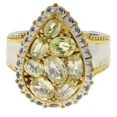 Estate Yellow Topaz Pear Shaped Statement Ring Sterling Silver Vermeil SZ 7.5