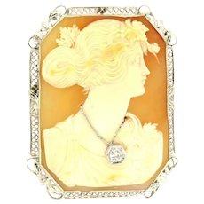 Large Art Nouveau Diamond Cameo Brooch 14K White Gold 0.20 CTW Round Diamond
