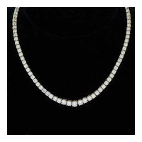 Diamond Riviera Graduating Tennis Necklace 18K Yellow Gold 18.00 TW FG VS Estate
