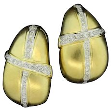 Estate Diamond Puffed Teardrop Earrings 18K Yellow Gold 1.00 CTW Round Diamonds