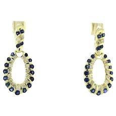 Estate Sapphire Diamond Dangle Earrings 14K Yellow Gold 2.25 CTW Oval Shaped