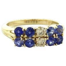 Tanzanite & Diamond Two Row Ring 14K Yellow Gold 1.25 CTW Round Gems Size 6.5