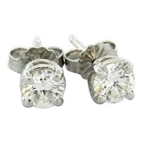 Diamond Stud Earrings 14K White Gold 1.10 CTW Ladies Round Brilliant Diamonds