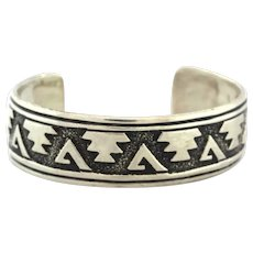 Vintage Thomas Singer Navajo Bracelet Bangle Sterling Silver Authentic Cuff