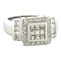Diamond Fashion Ring 18K White Gold 1.50 CTW Round & Princess Diamonds Size 7.25