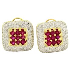 Estate Diamond & Ruby Earrings 18K Yellow Gold 5.97 CTW Ladies Round Gemstones Omega Backs