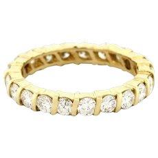 Diamond Eternity Band Ring 14K Yellow Gold 2.25 CTW Wedding Anniversary Size 7.5
