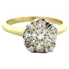 Vintage Diamond Engagement Ring 14K Yellow & White Gold 0.75 TW Round Diamonds