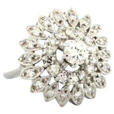 Vintage Diamond Floral Cocktail Ring 14K White Gold 0.75 CTW Ladies Size 3.75