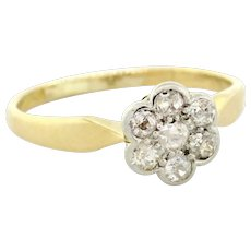 Vintage Floral Old Euro Diamond Cluster Ring 18K Yellow Gold 0.35 CTW Ladies