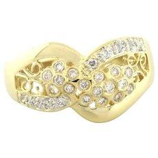 Estate Diamond Cluster Ring 0.50 CTW Round Diamonds Ladies Size 7 H SI1