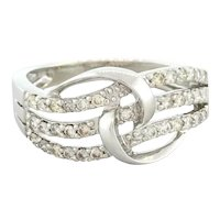Diamond Crossover Ring 14K White Gold 0.75 CTW Round Diamonds Ladies Size 7