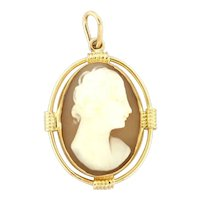 Vintage Victorian Carved Cameo Pendant 14K Rose Gold Ladies