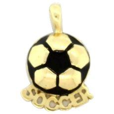 Soccer Ball Charm 'Soccer' 14K Yellow Gold Enamel Accent Sports Charm Pendant