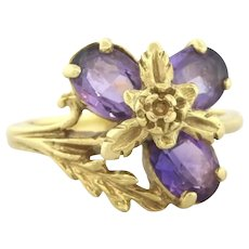 Vintage Purple Amethyst Ring 14K Yellow Gold Ladies Oval Gemstones Size 5.75