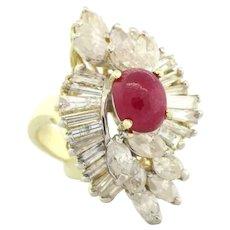 Vintage Ruby & Diamond Cocktail Ring 14K Yellow Gold 3.50 CTW Ladies Size 7