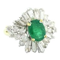 Vintage Emerald & Diamond Ballerina Cocktail Ring 14K Yellow Gold 2.75 CTW 6.25