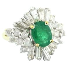 Vintage Emerald & Diamond Ballerina Cocktail Ring 14K Yellow Gold 2.75 CTW 6.25