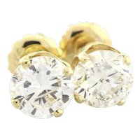1.90 CT Diamond Stud Earrings 14K Yellow Gold Round Brilliant Diamond Screw Back