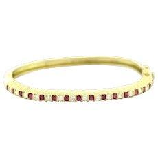 Estate Jeff Cooper Diamond Ruby Bangle Bracelet 18K Yellow Gold 2.35 CTW