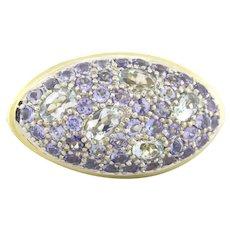 John Hardy Colorway Marquise Shape Ring 18K Yellow Gold Pave Aquamarine & Iolite