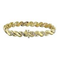 "Estate Baguette Cut Diamond S Link Bracelet 14K Yellow Gold 2.00 CTW Diamonds 7"""