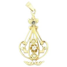 Vintage Pearl & Diamond Pendant 14K Yellow Gold 0.05 CTW Ladies Natural Gems