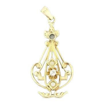 Vintage Pearl & Diamond Pendant 14K Yellow Gold 0.05 CTW Ladies Natural Gems