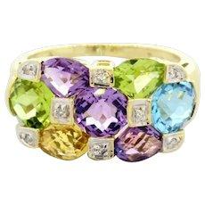 Estate Gemstone Diamond Ring 14K Yellow Gold Amethyst Topaz Citrine Tourmaline