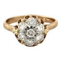 Estate Rose Gold Floral Diamond Ring 14K 1.25 CTW Round Diamonds Ladies 9.75