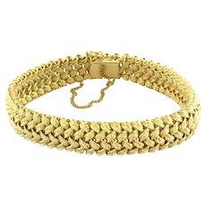 "Van Cleef & Arpels Vintage Gold Woven Bracelet 18K Yellow Gold Size 7.25"""
