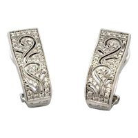 Simon G Pierced Filigree Pave Diamond Earrings 18K White Gold 0.28 TW RTL $2750