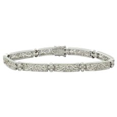 Simon G Filigree Diamond Link Bracelet 18K White Gold 1.51 TW Pave Diamond $6495