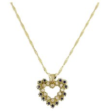 Estate Open Heart Sapphire Diamond Pendant 14K Yellow Gold 0.61 CTW
