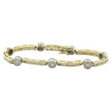 Estate Diamond Line Bracelet 14K Two-Tone Gold 1.75 CTW Bezel Channel Set 6.75""