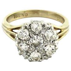 Vintage Floral Diamond Ladies Ring 14K Yellow Gold 1.00 CTW Diamonds Size 5