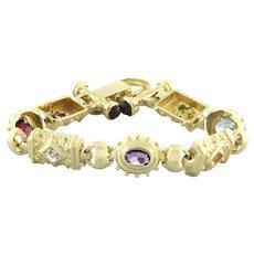 "Estate Multi Colored Gemstone Statement Bracelet 14K Yellow Gold Ladies 6.5"""