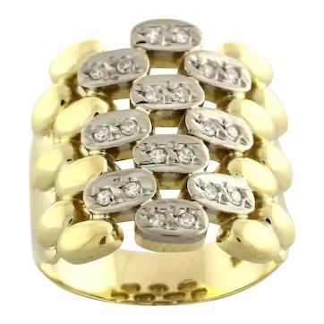 Estate Diamond Wide Band Woven Ring 18K Two-Tone Gold 0.35 CTW Diamonds Size 7.5