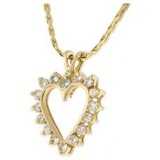 "Estate Diamond Open Heart Pendant Necklace 14K Yellow Gold 0.40 CTW 15.25"" Chain"
