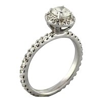 Estate Solitaire Diamond Halo Engagement Ring 14K White Gold 1.25 CTW Diamonds