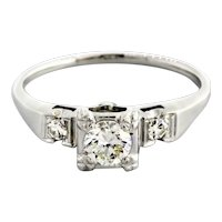 Estate Diamond Solitaire Engagement Ring 14K White Gold 0.50 TW Round Diamonds
