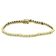 Estate Diamond Line Station Bracelet 18K Yellow Gold 1.50 TW Diamonds 6.5""